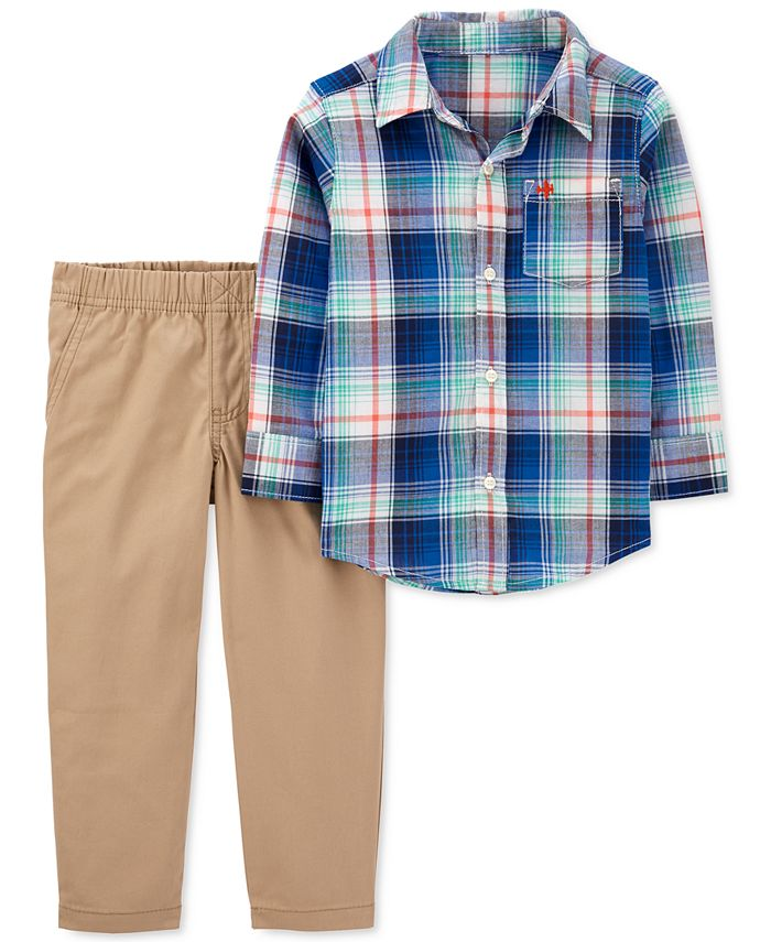 Carter's - Baby Boys 2-Pc. Cotton Plaid Shirt & Pants Set