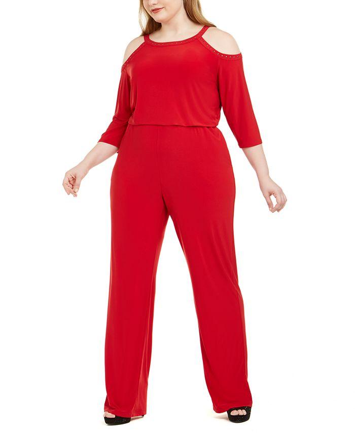 NY Collection - Plus Size Embellished Cold-Shoulder Jumpsuit