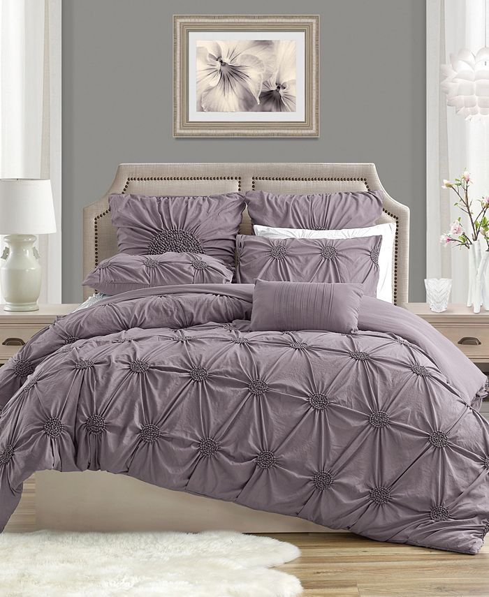 Cathay Home Inc. - Charming Ruched Rosette Duvet Cover Set - King/Cal King