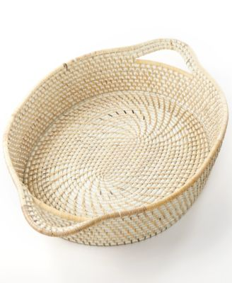 CLOSEOUT! 222 Fifth Serveware, Whitewashed Rattan Oval Tray