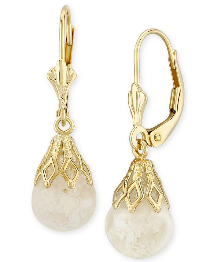 Macy's - Floating Crushed Opal Drop Earring in 14k Yellow Gold