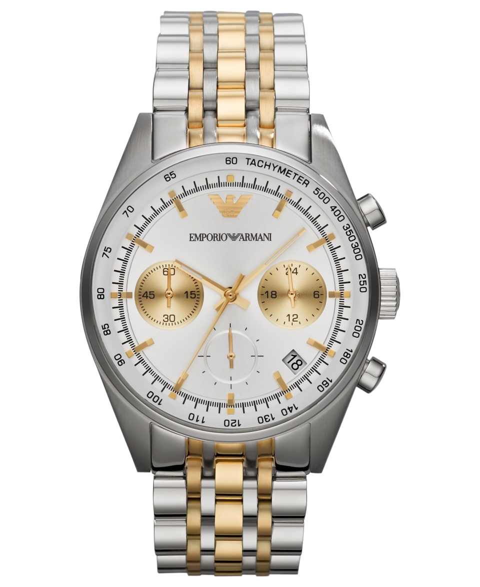 Emporio Armani Watch, Mens Chronograph Two Tone Stainless Steel Bracelet 43mm AR6116   Watches   Jewelry & Watches