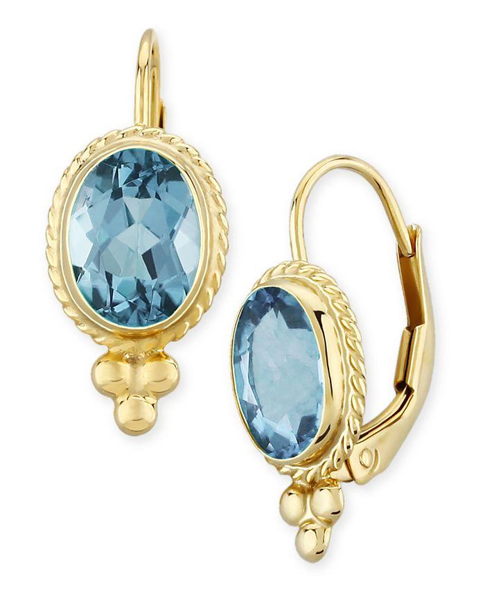 Macy's - Gemstone Twist Gallery Drop Earring in 14k Yellow Gold Available in Amethyst, Blue Topaz, Citrine, Garnet or Peridot
