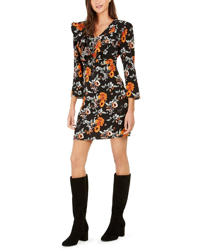 NY Collection - Petite Printed Ruffled Dress