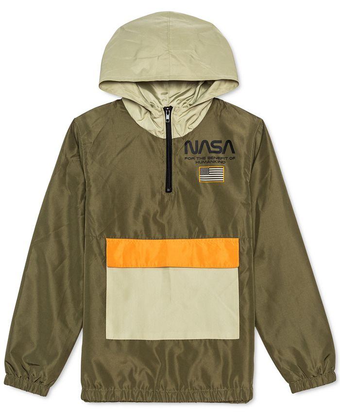 Jem - Big Boys NASA Colorblocked 1/4-Zip Hooded Anorak