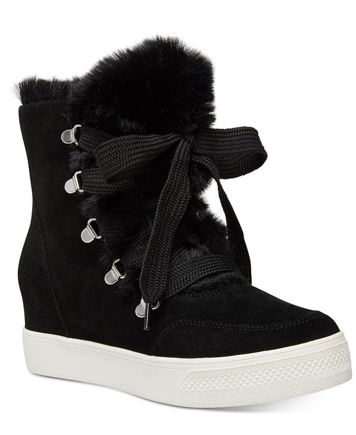 Steve Madden - Women's Wharton Faux-Fur Wedge Sneakers