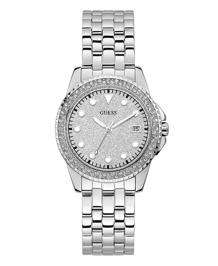 GUESS - Silver-Tone Stainless Steel Glitz Watch