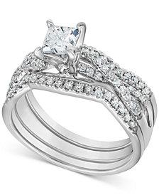 Diamond 3-Pc. Princess Bridal Set (1 ct. t.w.) in 14k White Gold