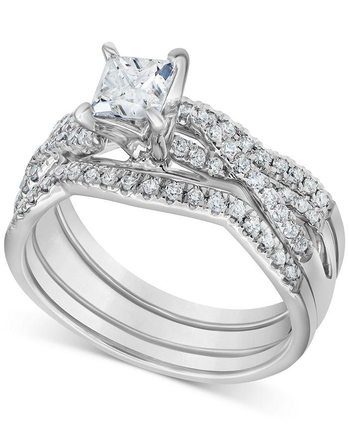 Macy's - Diamond 3-Pc. Princess Bridal Set (1 ct. t.w.) in 14k White Gold