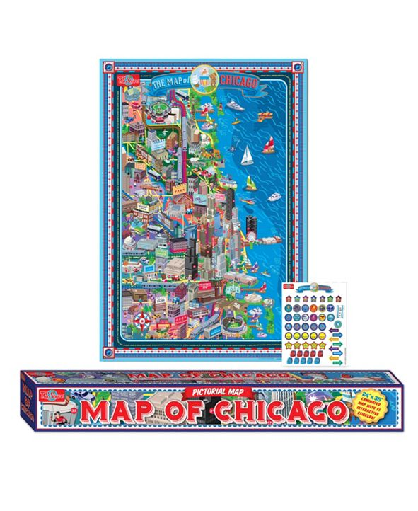 T.S. Shure Map of Chicago, Laminated Poster with Stickers