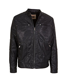 American Culture little Boys  Zip Front Vegan Leather Updated Moto with Faux Sherpa Body Lining