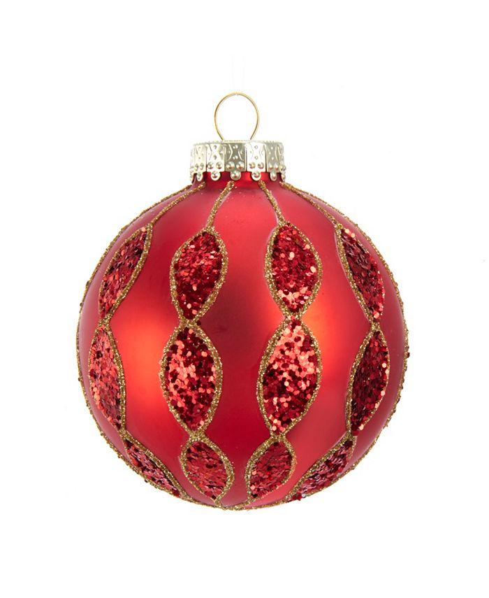 Kurt Adler - 80MM Red with Glitter Pattern Glass Ball Ornaments, 6 Piece Box