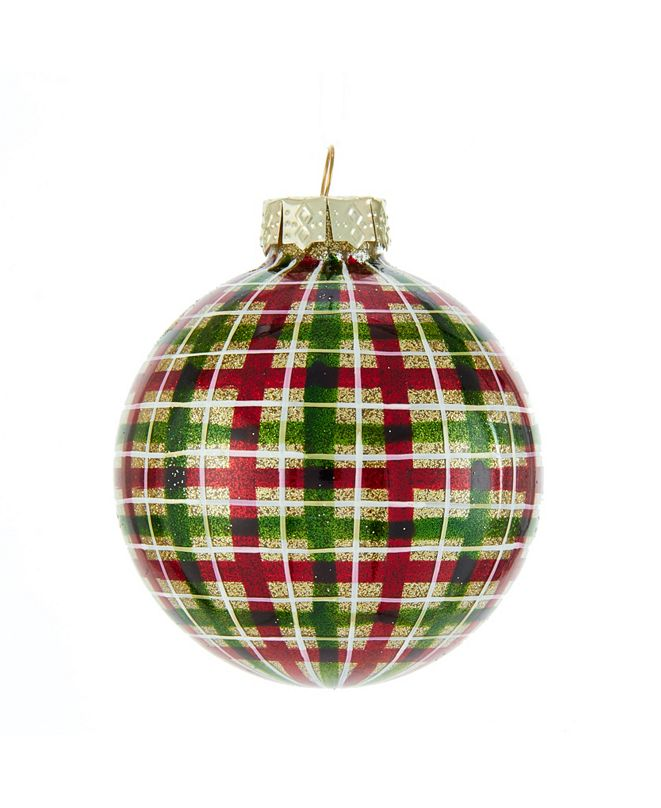 Kurt Adler 80MM Red and Green Plaid Glass Ball Ornaments, 6 Piece Box