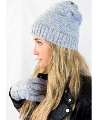 Women's Recycled Yarn Mohair Cable Knit Mittens