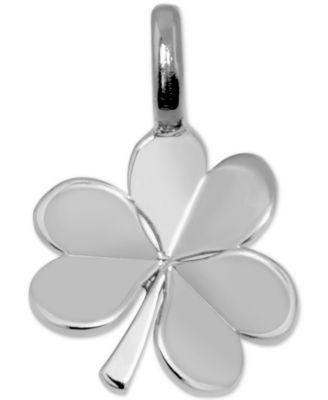 Mini Shamrock Charm Pendant in Sterling Silver