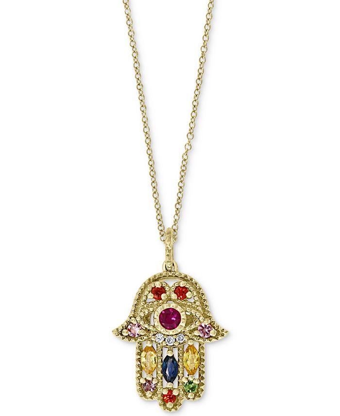 "EFFY Collection - Multi-Gemstone (5/8 ct. t.w.) & Diamond Accent Hamsa Hand 18"" Pendant Necklace in 14k Gold"