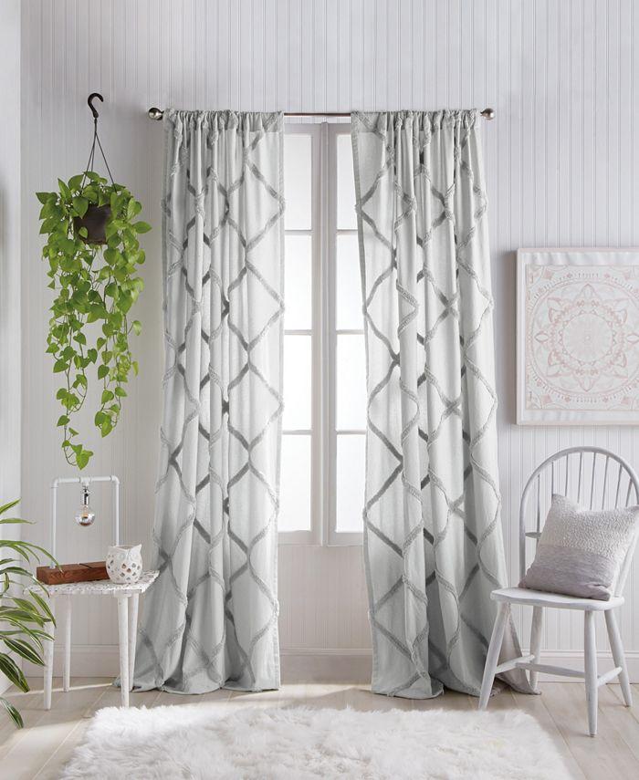 "Peri Home - Chenille Lattice 50""x95"" Backtab Window Panel Grey"