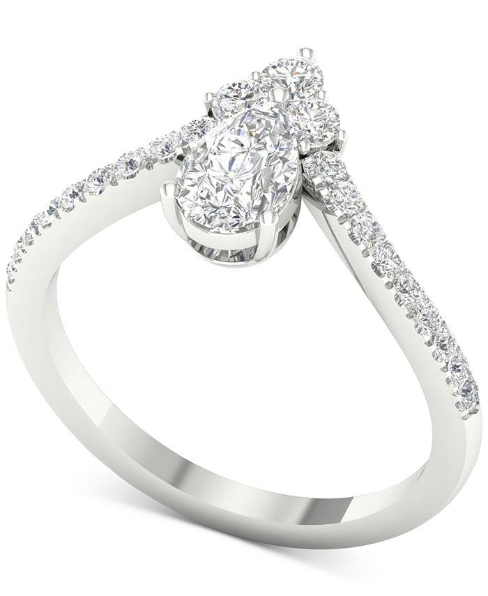 Macy's - Diamond Cluster Chevron Statement Ring (1 ct. t.w.) in 14k White Gold