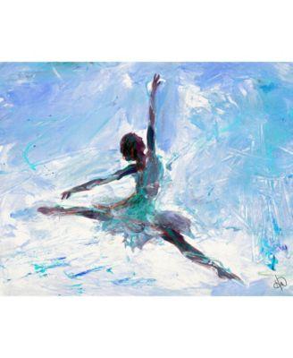 "Grande Jete Ballerina in Blue Abstract 24"" x 20"" Canvas Wall Art Print"
