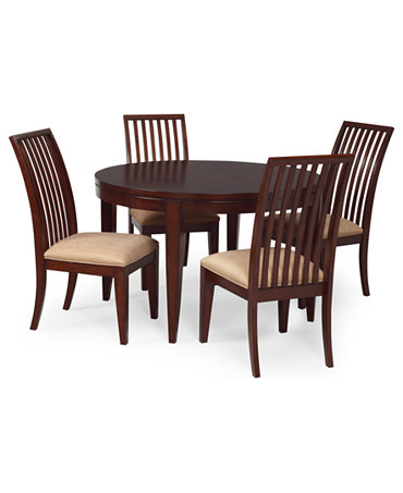 Prescot Dining Room Furniture 5 Piece Set Round Table And 4 Slat Back Chair