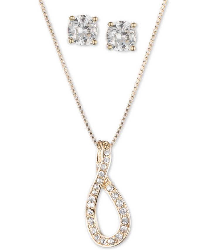 """Anne Klein - Gold-Tone Crystal Infinity Pendant Necklace & Stud Earrings Set, 16"""" + 3"""" extender"""
