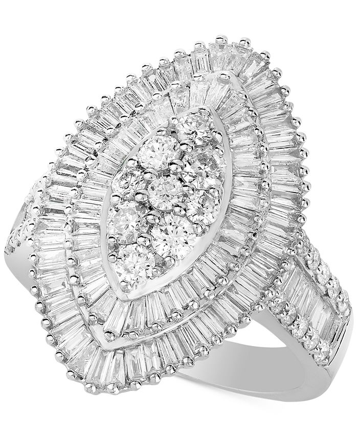 Macy's - Diamond Baguette-Cut Oval Halo Statement Ring (2 ct. t.w.) in 14k White Gold