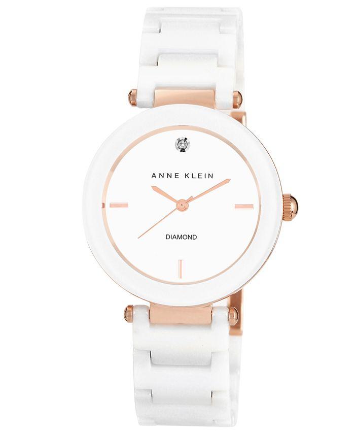Anne Klein - Watch, Women's Diamond Accent White Ceramic Bracelet 33mm AK-1018RGWT