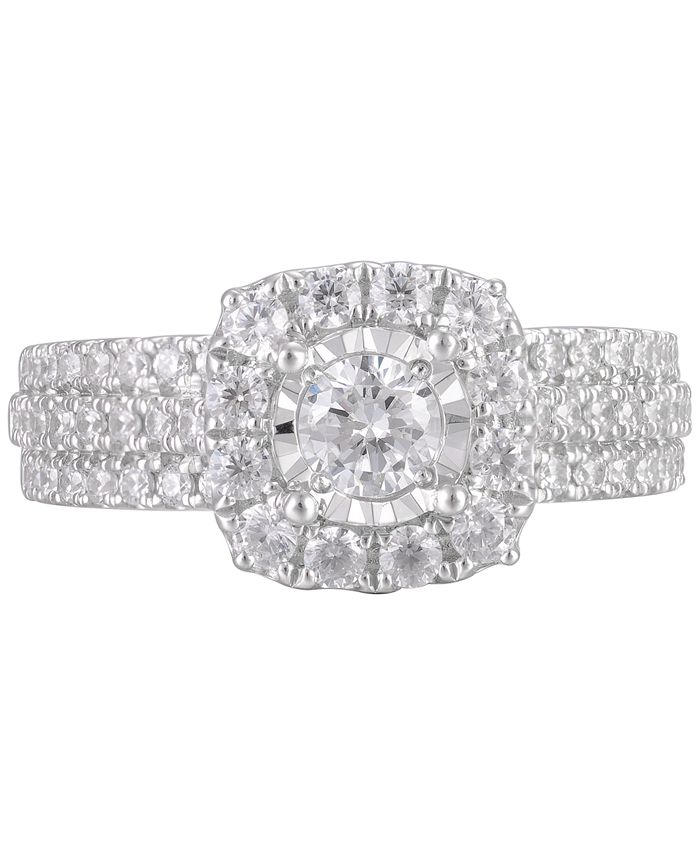 Macy's - Diamond Halo Triple Row Ring (1-1/4 ct. t.w.) in 14k White Gold
