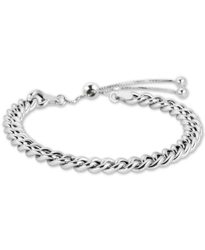 Macy's Curb Chain Bolo Bracelet in 18k Gold Plate Over Sterling Silver or Sterling Silver & Reviews - Bracelets - Jewelry & Watches - Macy's