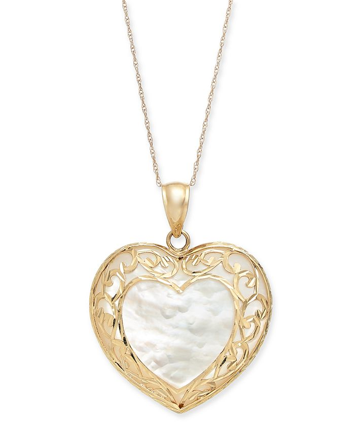 """Macy's - Mother-of-Pearl Filigree Heart 18"""" Pendant Necklace in 14k Gold"""