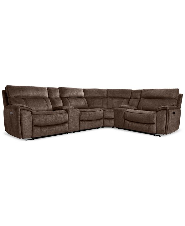 Furniture Hutchenson 6-Pc. Fabric Sectional with 2 Power Recliners, Power Headrests and 2 Consoles with USB
