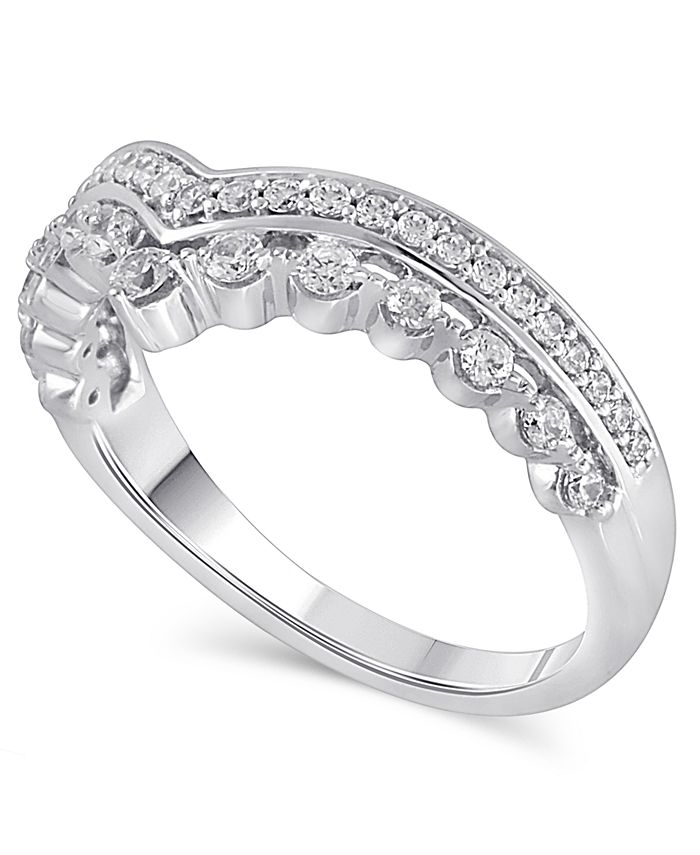 Macy's - Certified Diamond (3/8 ct. t.w.) Contour Band in 14k White Gold