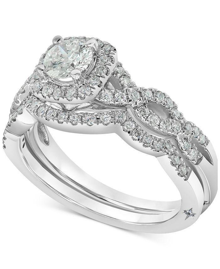 Marchesa - Diamond Halo Bridal Set (1 ct. t.w.) in 18k White Gold