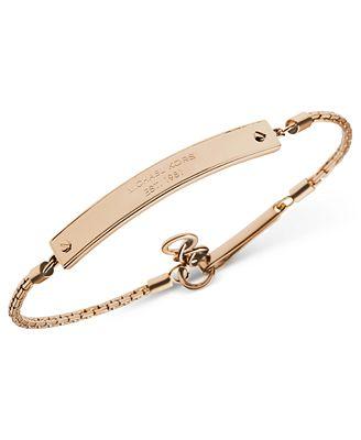 michael kors gold tone logo plate id bracelet