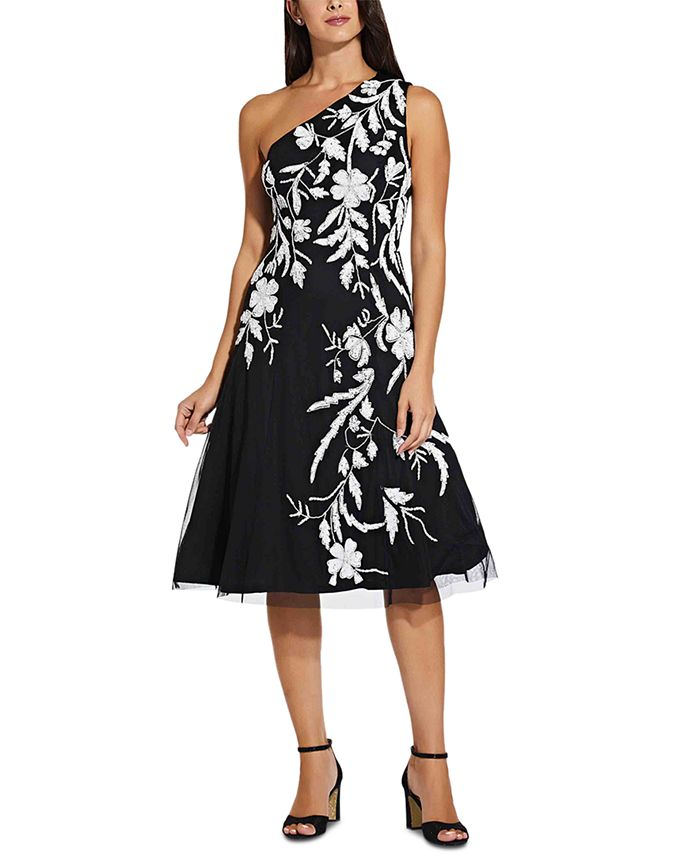 Adrianna Papell - Beaded One-Shoulder Dress