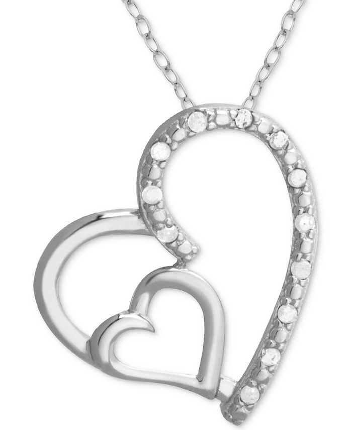 "Macy's - Diamond Double Heart 18"" Pendant Necklace (1/10 ct. t.w.) in Sterling Silver"