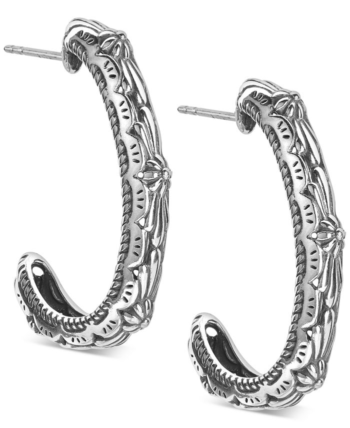 American West - Patterned Hoop Earring in Sterling Silver