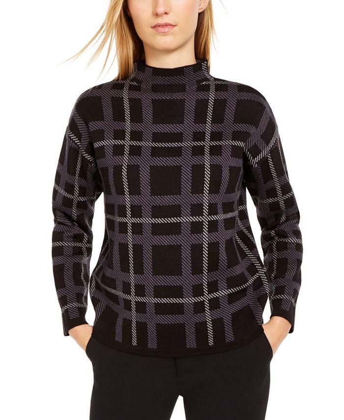 Anne Klein - Plaid Mock-Neck Sweater