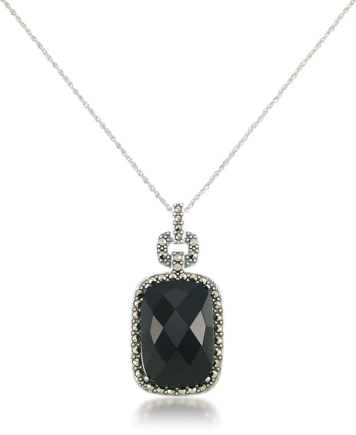 "Macy's - Marcasite and Faceted Onyx Square Pendant+18"" Chain in Sterling Silver"