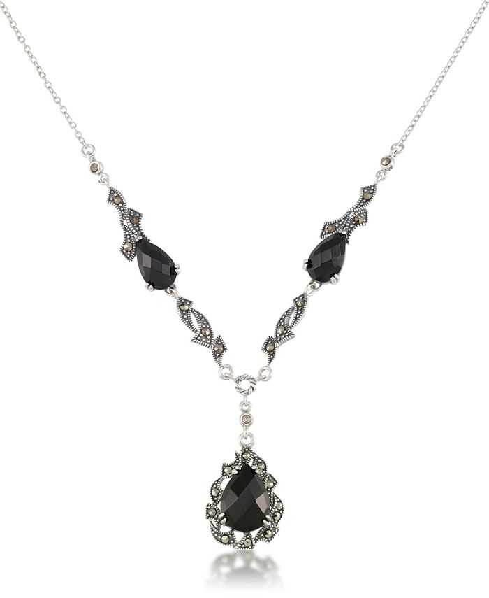 "Macy's - Marcasite and Faceted Onyx Teardrop Pendant+18"" Chain in Sterling Silver"