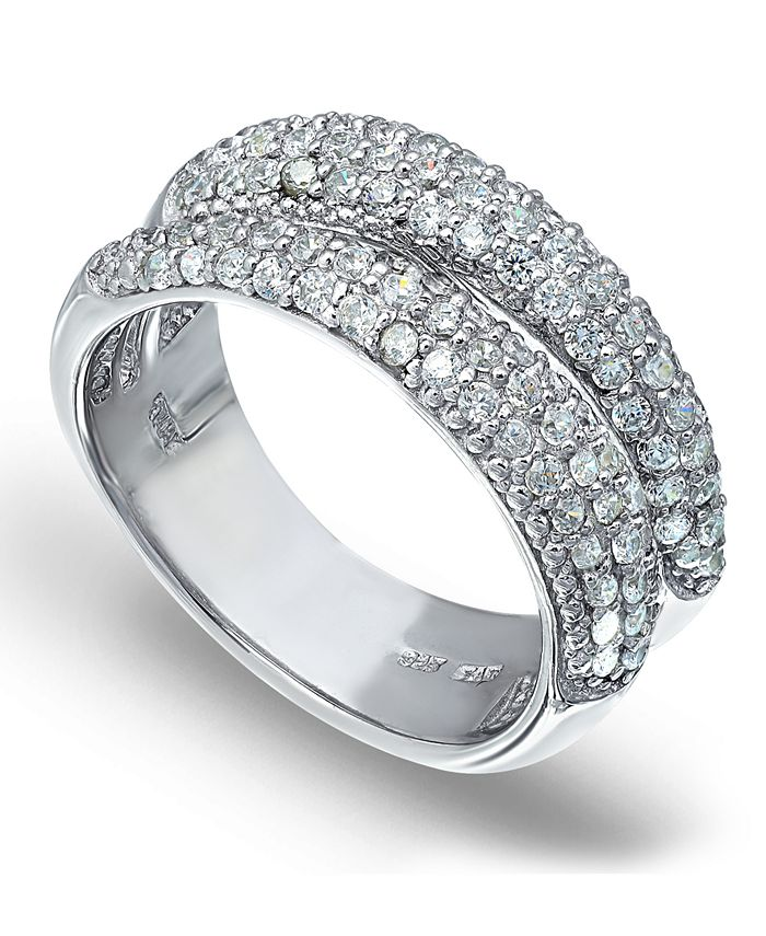 Macy's - Pavé Cubic Zirconia Band Ring in Fine Silver Plate