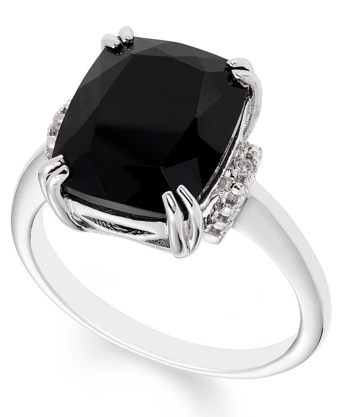 Macy's - Black Onyx (12 mm x 10 mm) Diamond Accent Ring in Sterling Silver