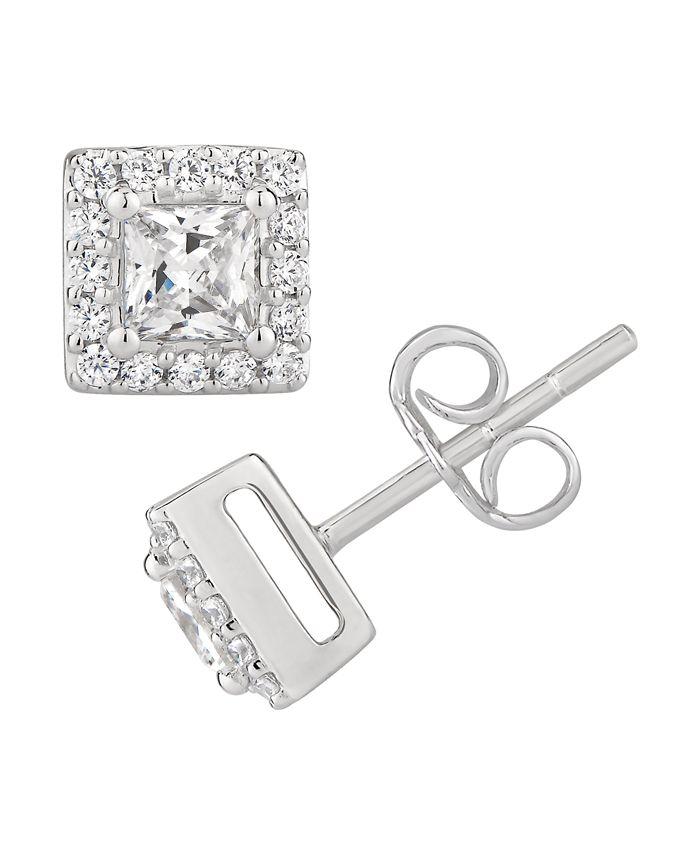 Macy's - Certified Princess Diamond 1 ct. t.w. Halo Stud Earrings in 14k White Gold