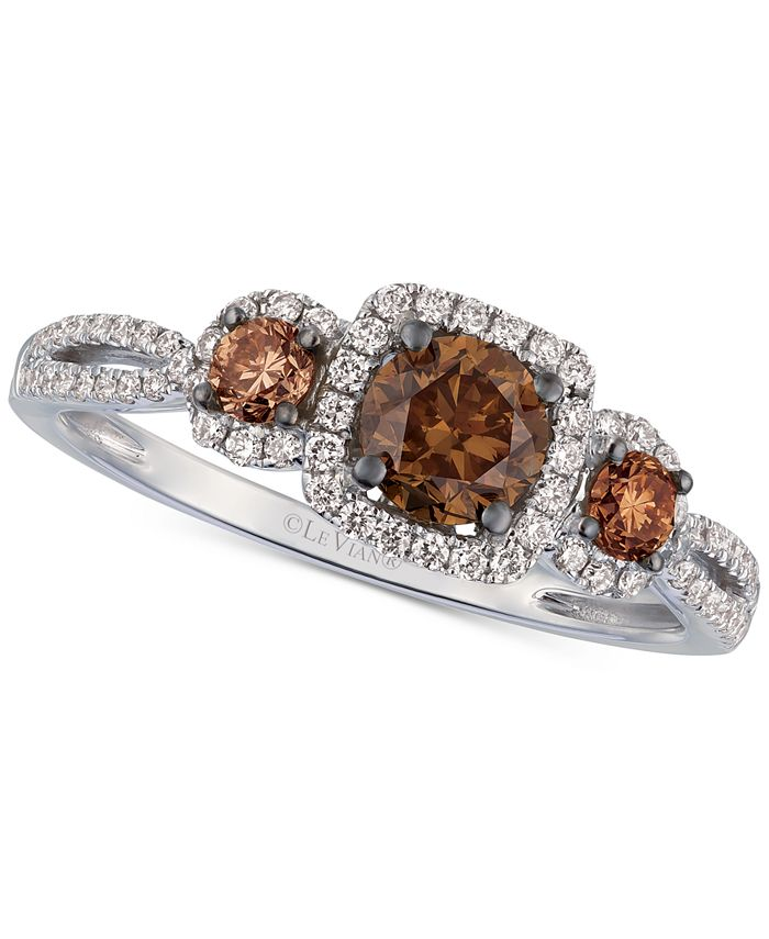 Le Vian - Chocolate Diamond® & Vanilla Diamonds® Statement Ring (7/8 ct. t.w.) in 14k White Gold