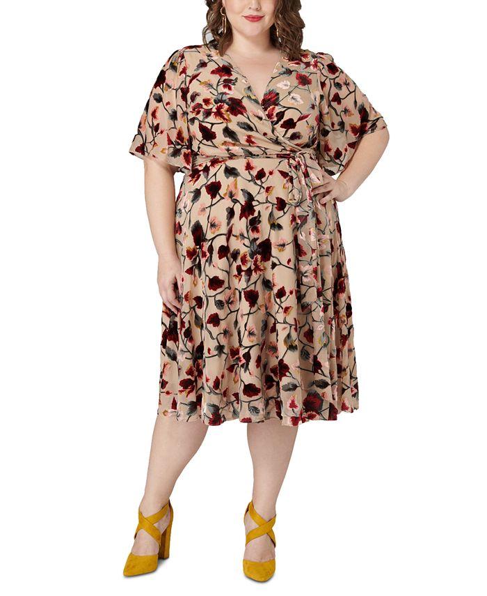 Maree Pour Toi - Plus Size Burnout Velvet Floral-Print Wrap Dress