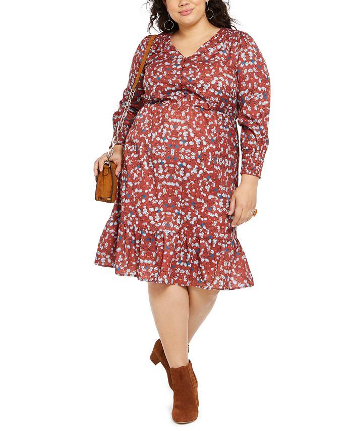 NY Collection - Plus Size Printed Smocked-Sleeve Midi Dress
