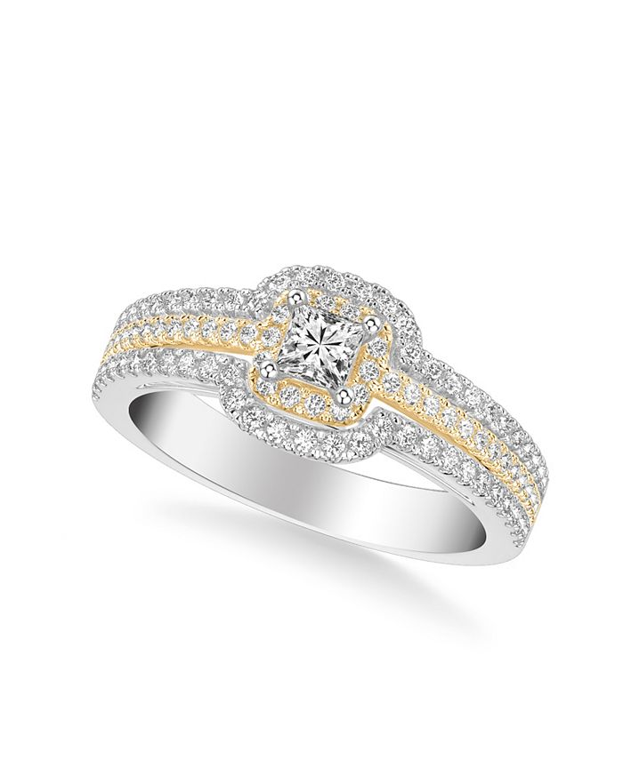 Macy's - Diamond Princess Engagement Ring (3/4 ct. t.w.) in 14k Two Tone White & Yellow Gold or White & Rose Gold