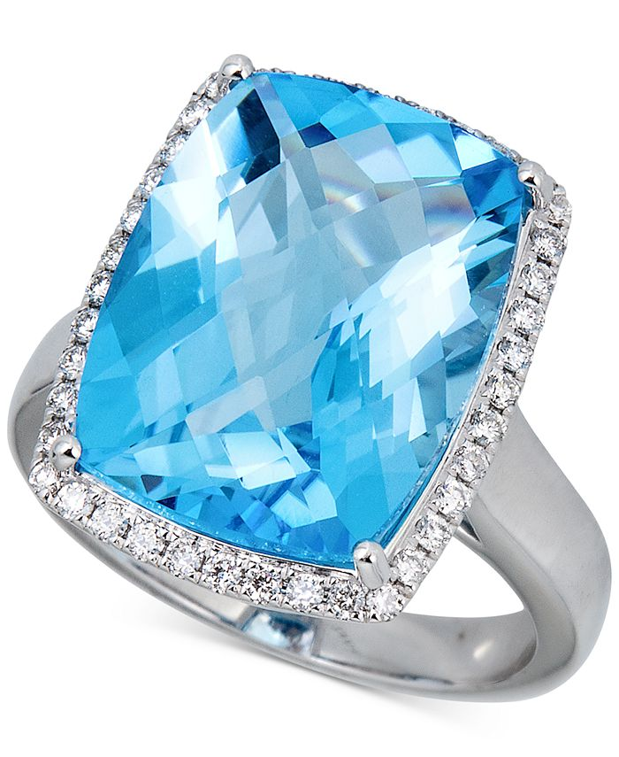 Macy's - Blue Topaz (12 ct. t.w.) & Diamond (1/3 ct. t.w.) Ring in Sterling Silver