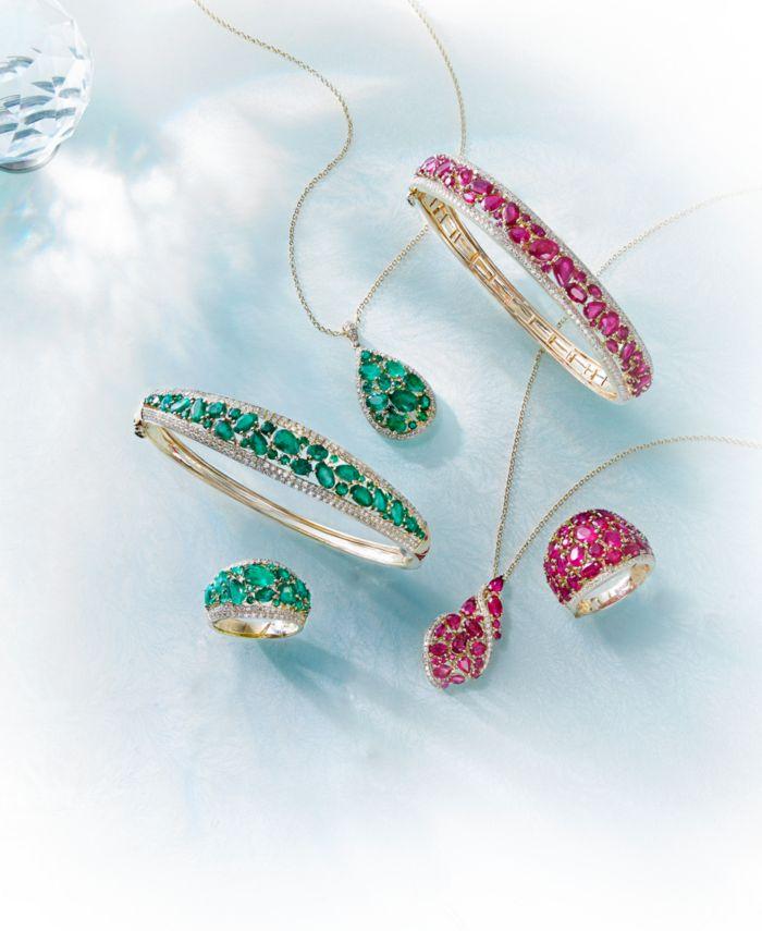 EFFY Collection EFFY® Certified Ruby (7-1/6 ct. t.w.) & Diamond (1-1/6 ct. t.w.) Bangle Bracelet in 14k Gold & Reviews - Bracelets - Jewelry & Watches - Macy's