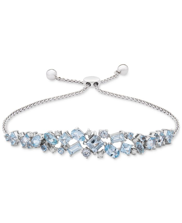 Macy's - Aquamarine (3-5/8 ct. t.w.) & Diamond (1/10 ct. t.w.) Bolo Bracelet in Sterling Silver